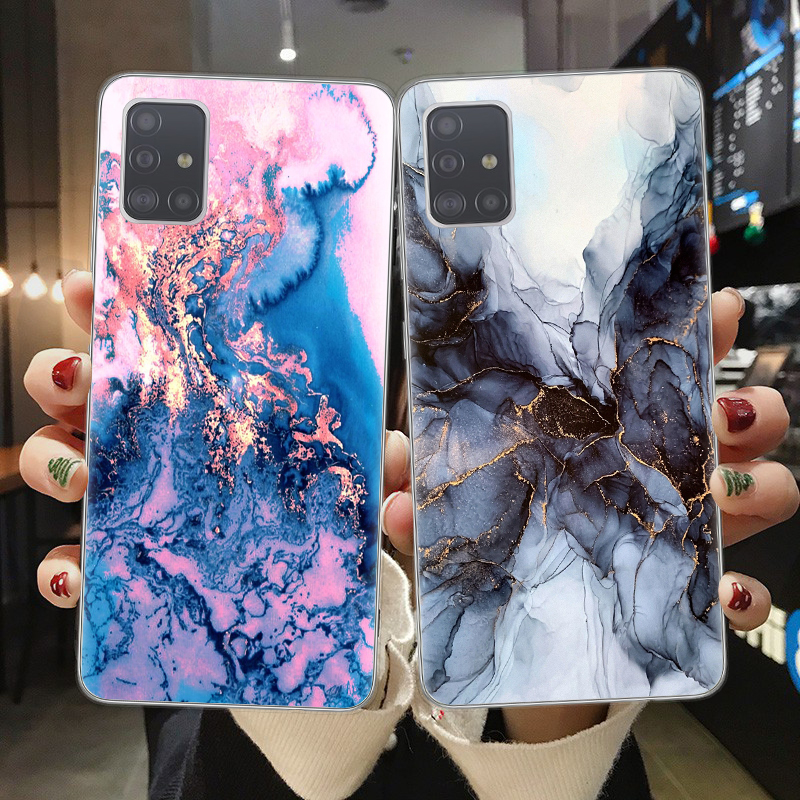 Blue Marble Pattern Phone Case For Samsung A51 A71 A10 A20 A30 A40 A50 A70 A6 A8 Plus A7 A9 2018 Soft TPU Phone Back Cover Coque