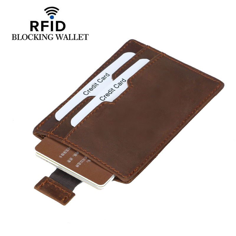 100 Genuine Leather Credit ID Card Holder Vintage Cow Leather Travel Mini Wallet Retro Business Purse Case in Card ID Holders from Luggage Bags