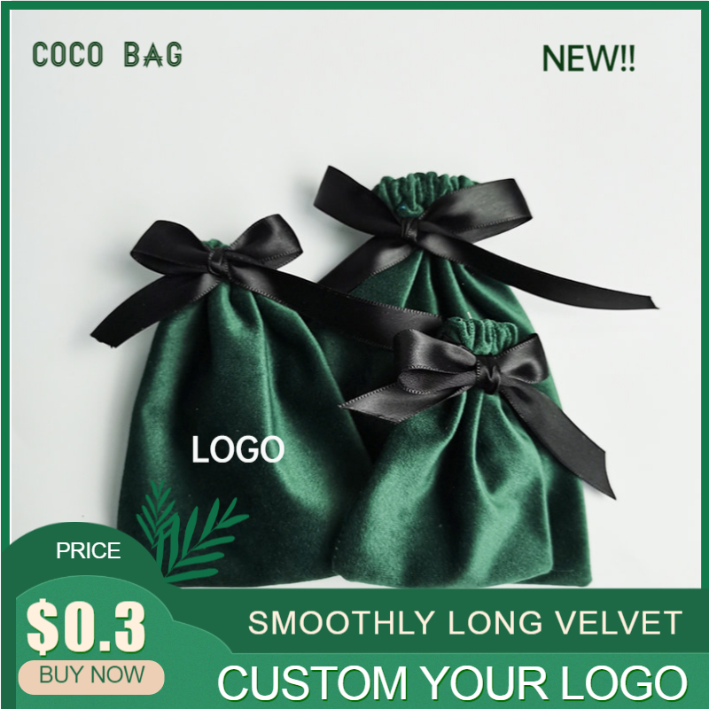 5pcs/lot Jewelry Packaging Velvet Bags Flannel Necklace Packing Bag Environmental Friendly Drawstring Gift Pouches Custom Logo