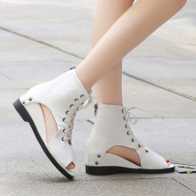 2019 Newest Wedges Sandals Women Solid Leather Shoes Lace-Up