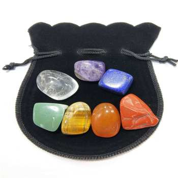 New Seven Chakra Stone 7 Colors Set Yoga Chakra Irregular Reiki Healing Crystals Stone Polished Individual Stones with bag