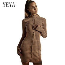 YEYA Sexy Round Neck Buttoned Elegant Mini Dress Women Long Sleeve Hollow Out Waistless Femme Casual Vintage Short Dresses