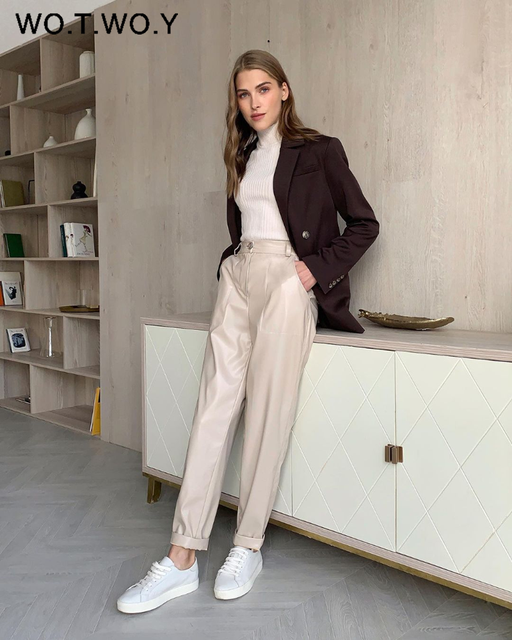 High Waisted Straight Leather Trousers  2