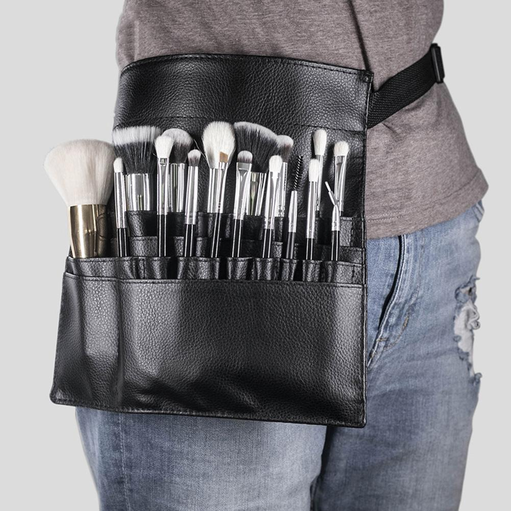 Professional Faux Leather Cosmetic Makeup Brush Bag Belt Strap Storage Pouch