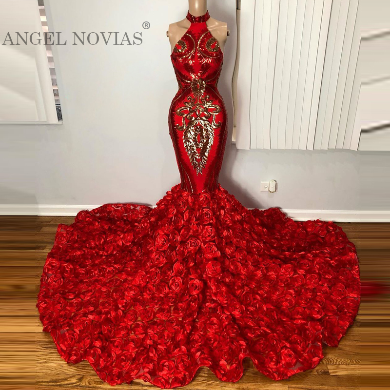 Long Halter Neck Mermaid Red Women Floral 3D Flower Prom Dresses 2020 Arabic Evening Dresses 2019 Elegantes De Gala
