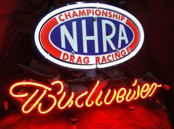 Custom Budweisers NHRA Glass Neon Light Sign Beer Bar