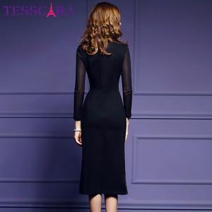 Image 5 - Женское осеннее роскошное платье TESSCARA с вышивкой, женское элегантное черное ретро платье, женское дизайнерское Сетчатое платье высокого качества