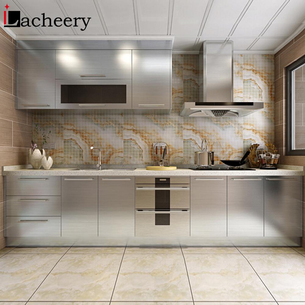 Best Promo A4d0 Silver Glossy Kitchen Cabinet Wallpaper Self Adhesive Waterproof Sticker Dishwashers Refurbish Refrigerator Wall Stickers Film Cicig Co