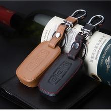 Car Leather Key Case Remote Control Cover, for Hyundai Tucson IX35 IX25 Santana 8-9ELANTRA 2 3 Button Auto Parts