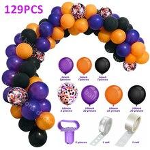Spider-Balloon Purple Global-Decor Black DIY for Halloween Party Garland-Arch-Kit Orange