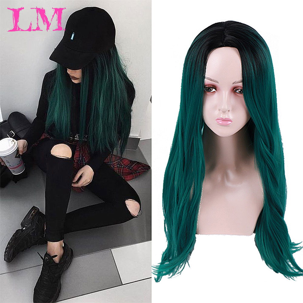 LiangMo Long Ombre Black Green Cosplay Wig High Temperature Fiber Synthetic Pink Hair Extension Wigs Cosplay For Party For Women