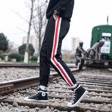 2020 Mens' Cotton Casual pants Ribbon decoration Sweatpants Active Elastic Harem Hip Hop Slim high-quality Trousers size M-3XL