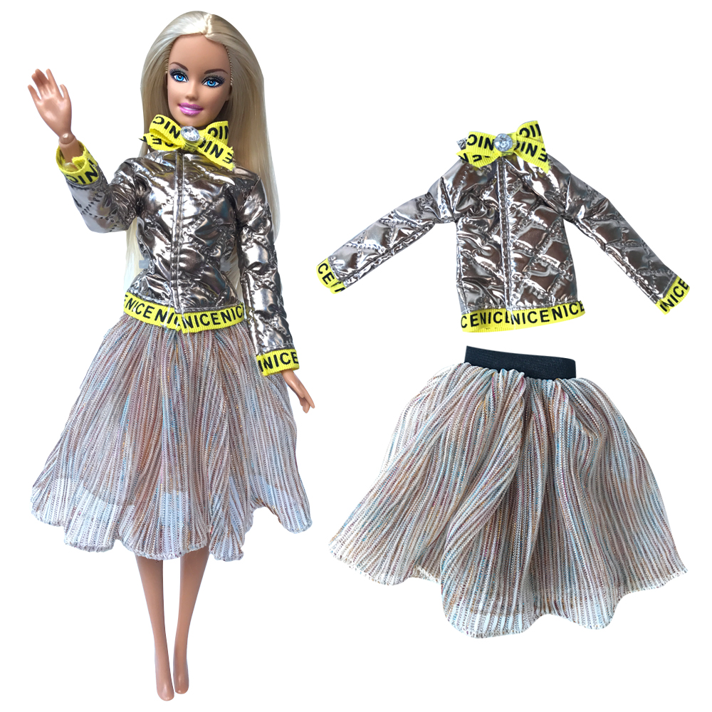 NK Newest Doll Golden Leather Top Casual Short Skirt Noble Clothing Beautiful For Barbie Doll Fashion Skirt Best Girl Gift 272B