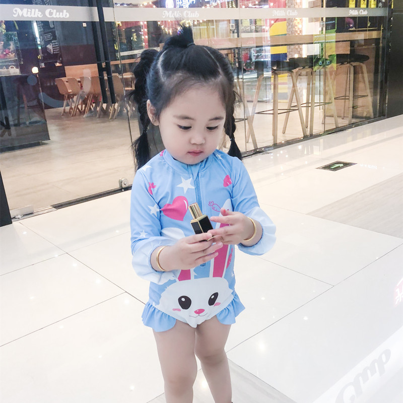 Modeling INS One-piece Swimming Suit Girls Bunny South Korea Korean-style Baby Long Sleeve Warm Dacron Swimsuit Set Fashion
