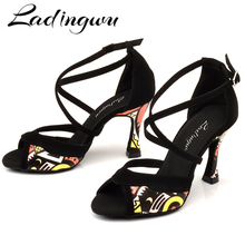 Ladingwu Latin Dance Shoes For Women Black Flannel and Orange African print Salsa Dance Shoes Womens Ballroom Dance Sandals
