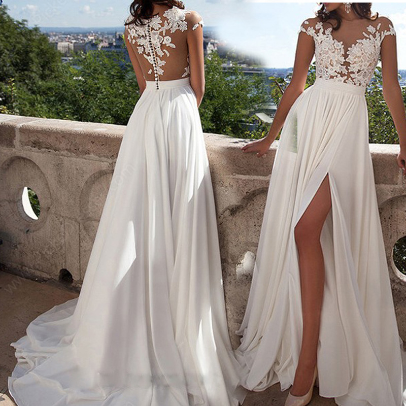 Summer Europe And America New Style Hot Selling Lace Chiffon Dress Slit Wedding Dress Evening Gown
