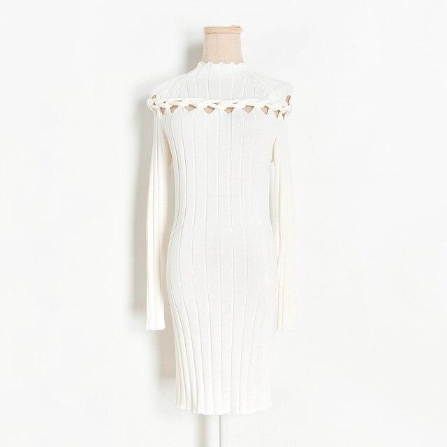 Ucoolcc Robe Tricot/ée Pull D/écontract/é pour Femmes d/écontract/é /à Manches Longues et Crayon Robe Moulante Mini Vintage Moulante Affaires Crayon Robe