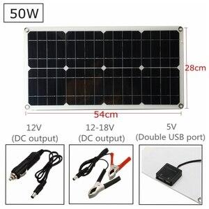 Image 2 - A pilha monocristalina do painel solar do silicone 50 w para a relação dobro 12 v/5 v do usb do isqueiro dos carregadores do telefone da pilha da bateria