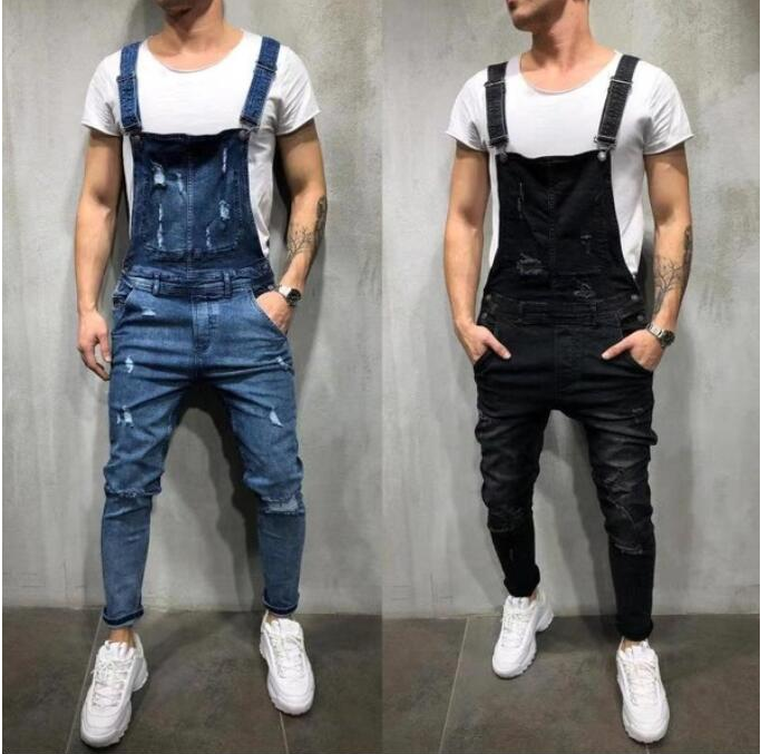 Fashion Men's Ripped Jeans Jumpsuits Holes Loose Man Cowboy Salopettes Camisole Bound Feet Pants Sexy Slim Skinny Overall