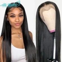 Ali graça peruano peruca dianteira do laço reto 360 perucas de cabelo humano frontal do laço com cabelo do bebê pré-arrancado 13x6 perucas de cabelo reto