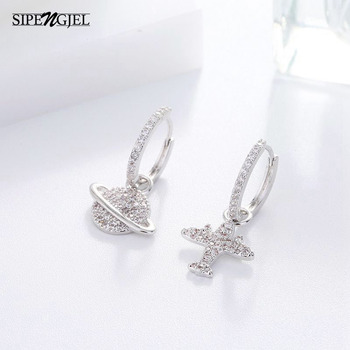 Luxury Brand Airplane And Moon Earrings Micro shiny Cz For Cute gold and silver color Hoop Women Fashion Jewelry