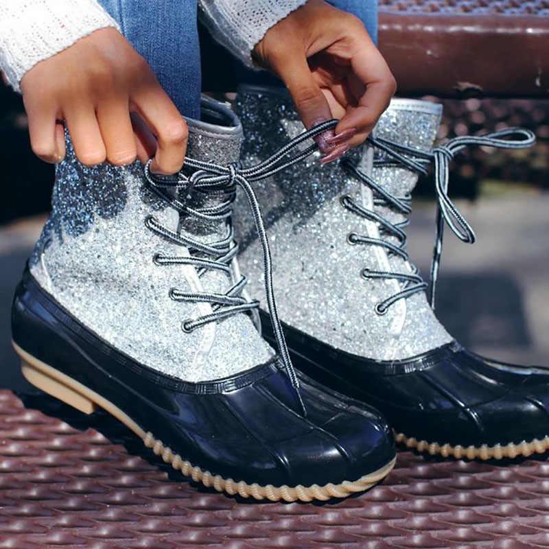 Çizmeler Kadın Jöle Ayakkabı Kadınlar Seksi yarım çizmeler Bling Pullu Kar Botları Kadın PVC su ayakkabısı Botas Mujer Invierno