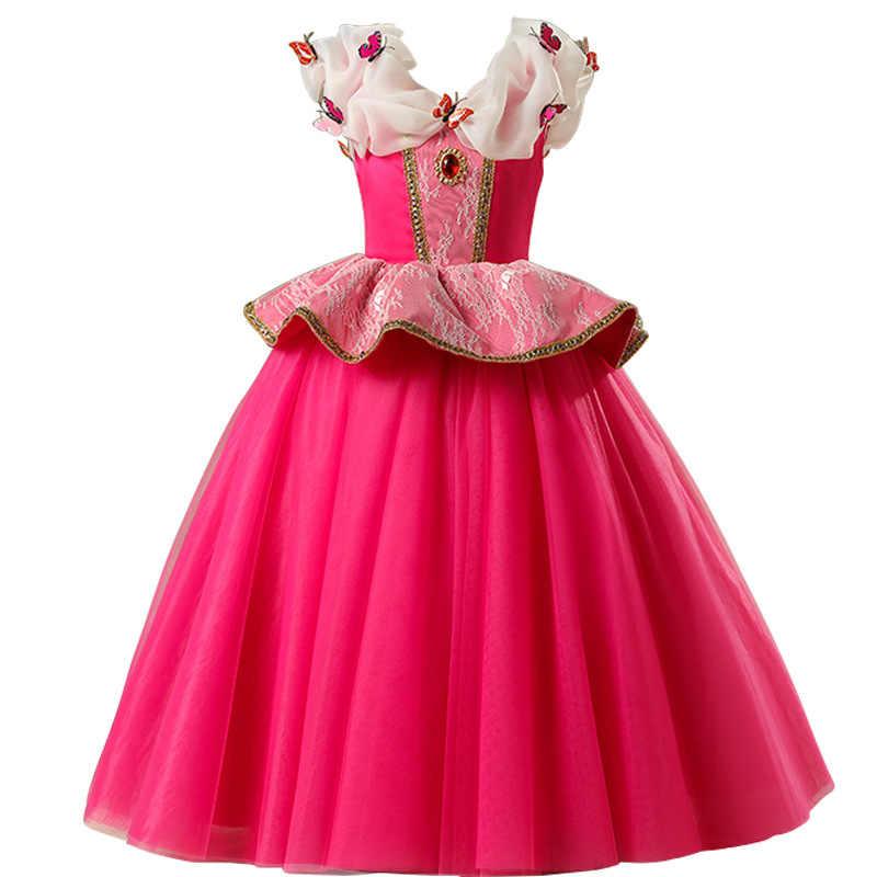 Kızlar için uyku güzellik elbise küçük çocuklar Aurora prenses balo çocuk fantezi parti balo Frocks gül kırmızı kapalı omuz kostüm