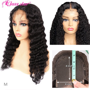 Brazilian 4X4 Lace Closure Wig Deep Wave Wig Human Hair Wigs Lace Wig Pre-Plucked With Baby Hair Jazz Star Non-Remy 150% density(China)
