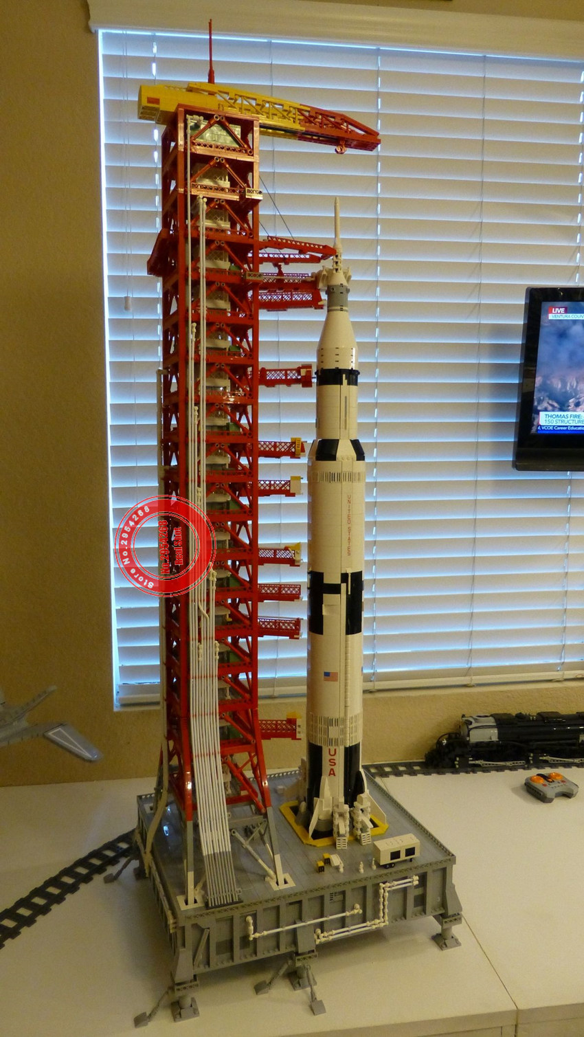 Image 2 - New 114CM High 3073PCS Space Apollo Saturn V Launch Umbilical Tower FOR 21309 Fit Legoings Technic Building Blocks Bricks Gift-in Blocks from Toys & Hobbies