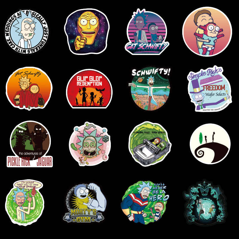 100Pcs Sticker US Drama Cucum Rick and Morty Mort Funny Decal For Car Laptop Motorcycle Notebook Waterproof Stickers