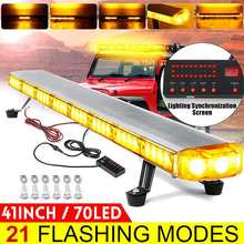 """41 """"210W LED 12V 24V camion voiture lumière stroboscopique barre lumineuse Led barre de Led clignotant balise lumière toit lampes davertissement durgence 21 Modes"""