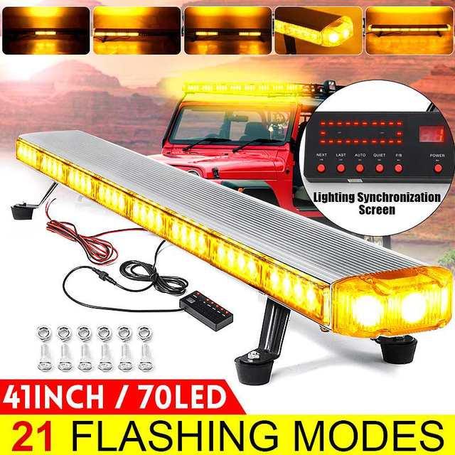 """41 """"210W LED 12V 24V kamyon araba çakarlı lamba ışıklı çubuk Led Bar yanıp sönen işaret ışığı ışık çatı acil durum uyarı lambaları 21 modları"""