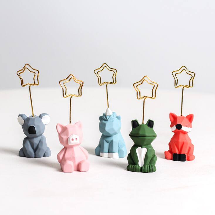 2020 Kawaii Resin Animal Koala Frog Note Paper Card Clip Holder Desk Wedding Party Photo Stand Decorative Clip Holder Stationery