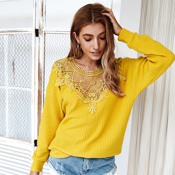 Fashion Stitching Lace Women's Sweater Casual Long Sleeve Solid Pullover Knitting Sweater 2020 Autumn Sexy Hollow Out Loose Tops spring summer loose women pullover sweater hollow out sexy lace knitted plaid top long sleeve thin female pullover and sweater