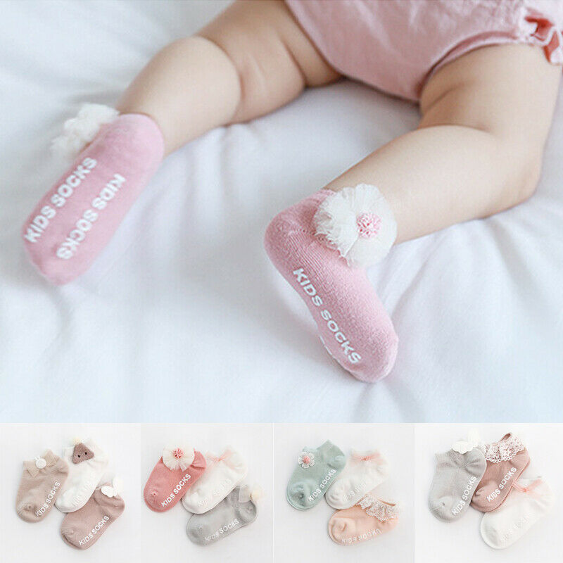 3 Pairs Baby Girl Boy Cute Socks Angel Wings Ruffles Children Kids Non-slip Cotton Bow Socks Lace Frilly Princess Baby Socks