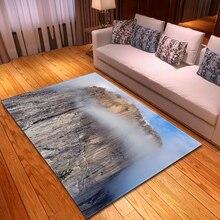 Ковры для гостиной в скандинавском стиле, фланелевые Противоскользящие коврики с 3D пейзажным принтом для кабинета, спальни, гостиной, прямоугольный ковер