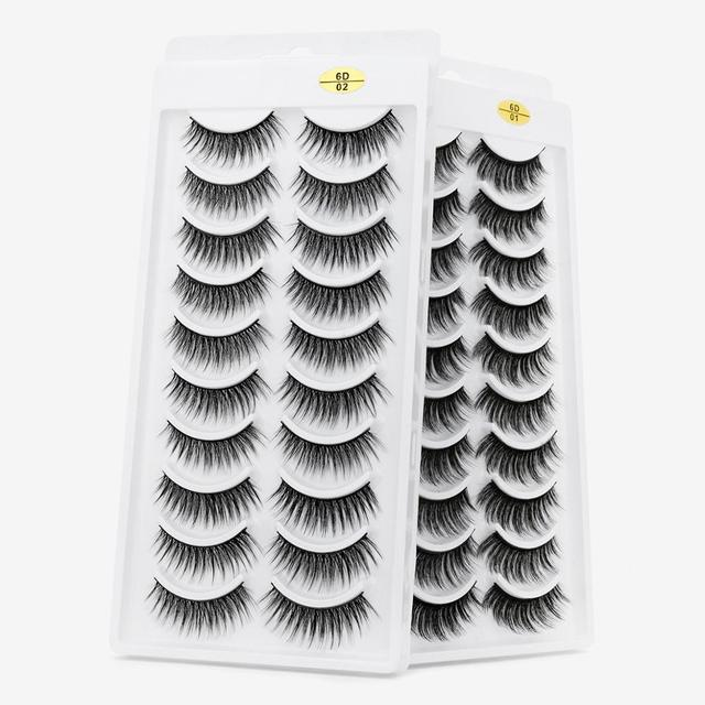 8/10 Pairs Eyelashs Natural long 3D Faux Mink Eyelashes Thick HandMade Full Strip Lashes Volume Soft Mink Lashes False Eyelashes 3