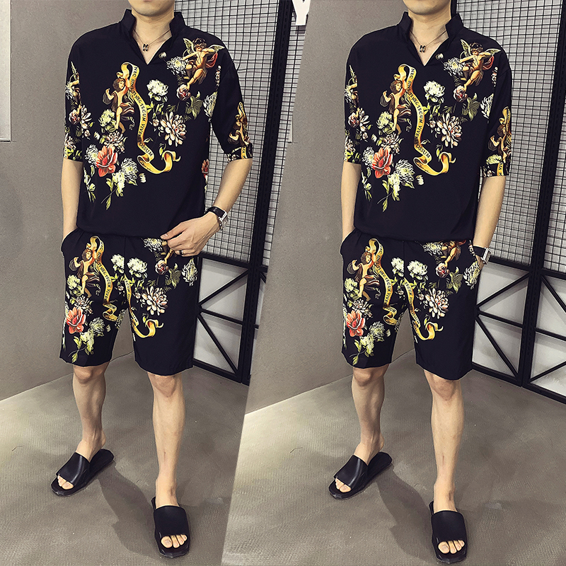 Fashion 2020 New Mens T-shirt Set Personality Eagle Print Casual Shirt +Short Two-piece Men Sportswear Set Men Shirt Sweat Suit