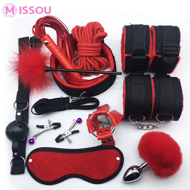 MISSOU Bdsm Sex Handcuffs Whip Collar Gag Nipple Clamps Bondage Rope Adult Sex Toys For Couples Women Anal Sex Butt Plug Tail