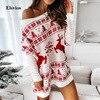 New Christmas Snowflake Elk Print Party Dress Winter Autumn Long Sleeve Mini Dress Women Elegant Off Shoulder Knit Sweater Dress 1