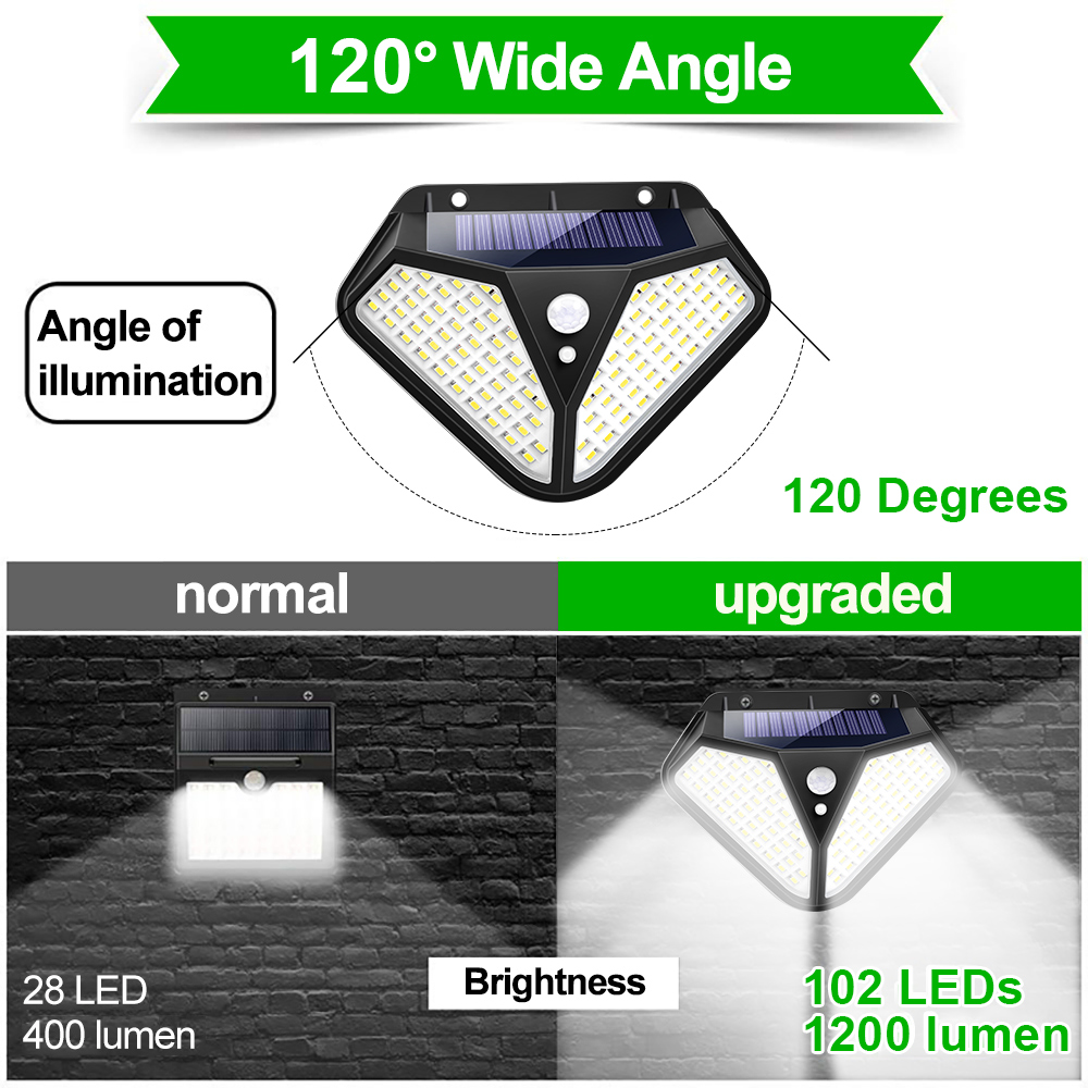 Goodland 102 100 LED Solar Light Outdoor Solar Lamp Powered Sunlight 3 Modes PIR Motion Sensor for Garden Decoration Wall Street 3