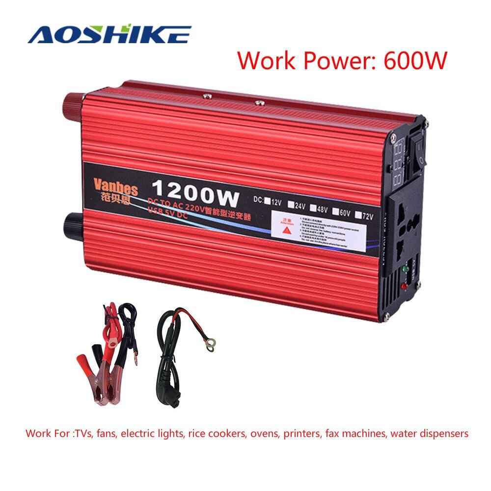 AOSHIKE 600W Modified Sine Wave Power Inverter DC 12V 24V 48V to AC 220V Voltage Transformer Converter Inversor 12 v 220 v NEW