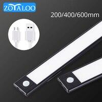 Zoyaloo-Lámpara LED con Sensor de movimiento PIR para armario de cocina, luz nocturna ultrafina de 20/40CM, recargable por USB