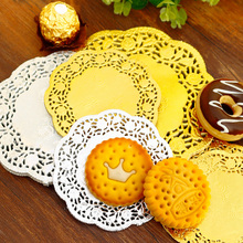 50 Uds. Tapetes redondos de papel de encaje de oro y plata 3,5/4,5/5,5 pulgadas, tapetes de papel Vintage para mesa, tapetes para decoración de bodas