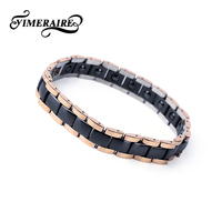 Wide Rose Gold Charm Bracelet For Women Men Energy Bangle With Healthy Ceramic Black Blue Color Germanium Bracelets & Bangles