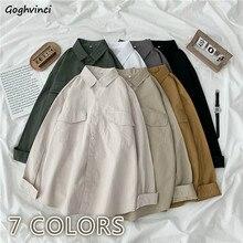 Blusa holgada informal de manga larga con bolsillos para mujer, ropa de estilo coreano, con bolsillos, talla grande 3XL abotonada, combina con todo