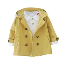 цена на Spring Autumn Girls and Boys  All-match Windbreaker Coat Baby Kids Solid Color Hooded Outwear Baby Kids Coats Jacket Clothing
