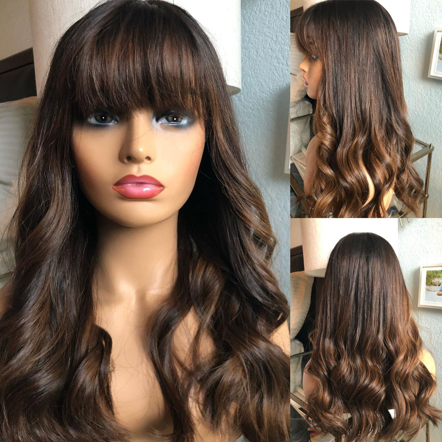 Highlight Brown Blonde 13x6 Lace Front Human Hair Wigs With Baby Hair Body Wave Silk Base Full Lace With Bangs 360 Fringe Wigs
