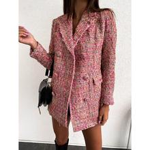 Women Plaid Tweed Blazer Elegant Office Double Breasted Long Sleeve Slim Coat Ca