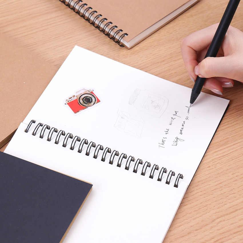 Sketchbook Diario Per Il Disegno Pittura Graffiti Molle Della Copertura Nero Carta Bianca Sketchbook Notepad Taccuino Ufficio Scuola Forniture 1PC